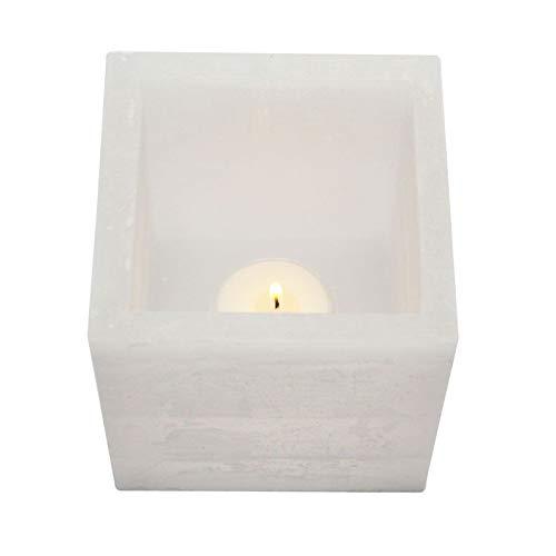 caramondo Wachs- Windlicht Hohlkerze Lumina 10x10x10 cm elfenbein