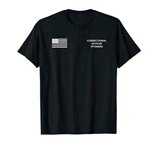 Wyoming Correctional Officer Thin Silver Line Flag T-Shirt ()