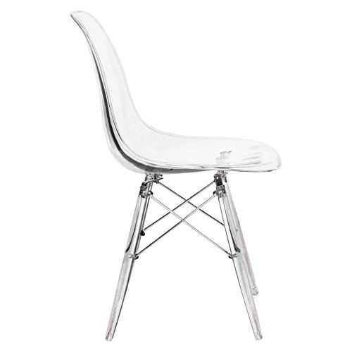 LeisureMod Calbert Molded Plastic Dining Chair with Acrylic Eiffel Base (Clear) by LeisureMod (Image #2)