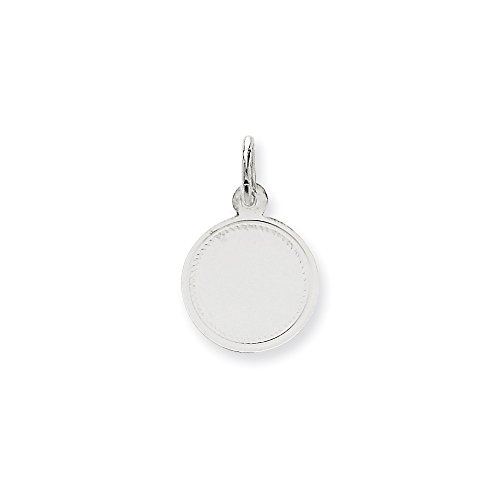 14k White Gold .018 Gauge Round Engravable Disc Pendant Charm Necklace Lasered Etched Fine Jewelry Gifts For Women For Her