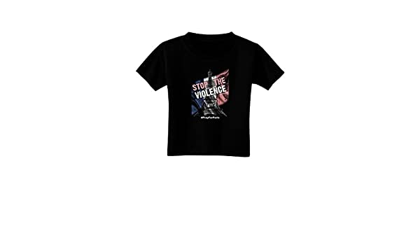 TooLoud Distressed Paris Stop The Violence Toddler T-Shirt