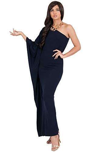 KOH KOH Plus Size Womens Long One Off The Shoulder Evening Cocktail Bridesmaid Wedding Party Tube Guest Summer Formal Flowy Elegant Sexy Gown Gowns Maxi Dress Dresses, Dark Navy Blue XL 14-16