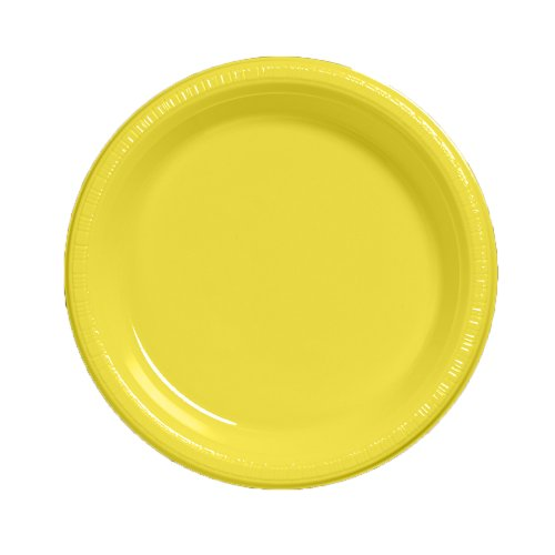 Yellow Round Dinner Plate - Creative Converting Touch of Color 50 Count Plastic Dinner Plates, School Bus Yellow