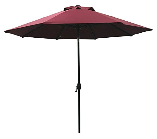 ABO Gear 9 Ft Outdoor Table Aluminum Patio Umbrella with Auto Tilt and Crank, 8 Ribs, Polyester, Red
