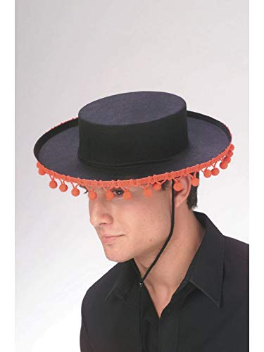 ADULT Spanish Costume Hat with RED Pom Poms (Pom poms are redder than appear in photo) ()