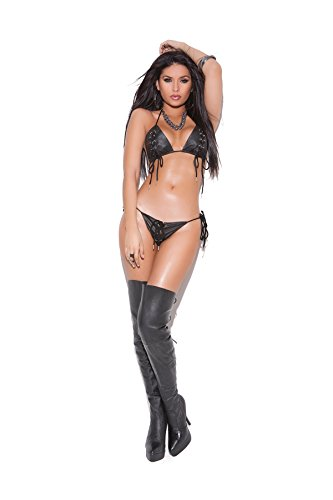 - Hot Spot Sexy Leather Lace Up Bra and G-String Two Piece Lingerie Set Black