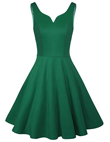 ANGGREK Womens Summer Sexy Backless Plunge V Neck Formal Elegant Cocktail Dress Green XL ()