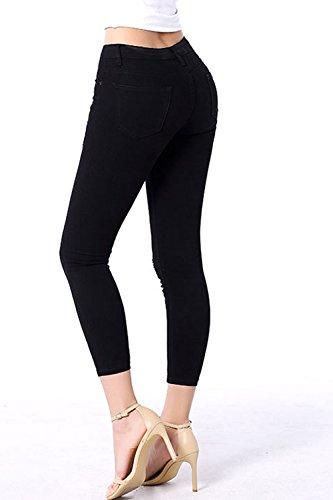 Black Casual Size Cropped Corto DENIM Mujer Zojuyozio Plus Elástico Pantalón JEANS Uv4qTanxCw