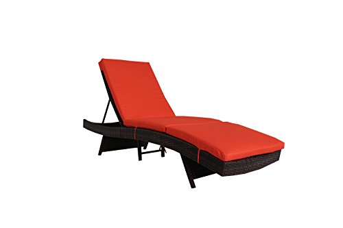 Jetime Patio Chaise Lounge Outdoor Brown Rattan Lounge Chair Wicker Portable Chaise Couch Furniture Ajustable Sunbed Lounger Poolside Garden Chair Couch 4 Color Cushion with Orange Cushion For Sale