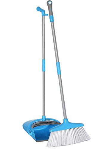 Broom and Dustpan with teeth set, Long Handled Broom Dust Pan with a handle Upright Sweep Set for Kitchen Office Hardwood Floor Use Brooms Blue (Upright Broom Pan Dust)