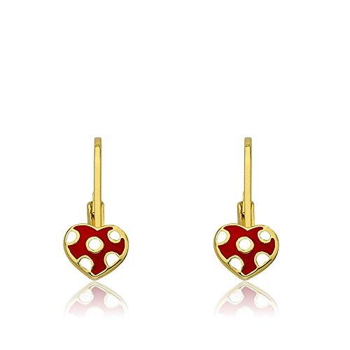Little Miss Twin Stars Kids Earrings - 14k Gold Plated Earrings Red Enamel Heart With White Dots in Center Leverback Girls Earrings-Brass
