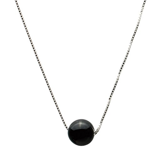 (Round 10mm Black Onyx Stone Station Sterling Silver Box Chain Necklace 16