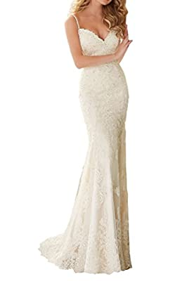 Datangep Women's Spaghetti Straps V-Neck Lace Applique Mermaid Wedding Dress