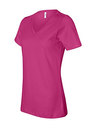 (Bella 6405 Ladies Relaxed Jersey Short-Sleeve V-Neck Tee - Berry, Extra Large )