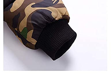Boys Camo Quilted Cotton Coat Winter Jacket Long Warm Parka Outwear Faux Fur Hooded
