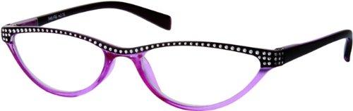 Readers.com The Farrah +2.75 Purple/Black Reading Glasses Women's Cat Eye Readers with Rhinestones and Spring Hinges Reading - Sunglasses Farrah