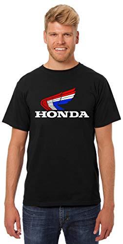 JH Design Honda Black T-Shirt Classic Red White & Blue Logo Men's Crew Neck Shirt (2X, Black)