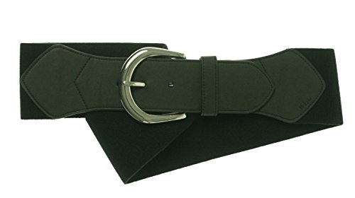 Lauren Ralph Lauren Women's Logo Stretch Leather Wide Belt Black M (Lauren Ralph Lauren Leather C Buckle Belt)