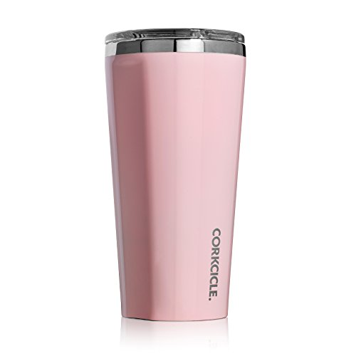 Corkcicle Tumbler-Classic Collection-Triple Insulated Stainless Steel Travel Mug, 16 oz, Gloss Rose Quartz