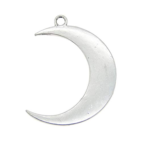 JulieWang 16pcs Antiqued Silver Moon Crescent Pendant Charm for Jewelry Making 44x31mm