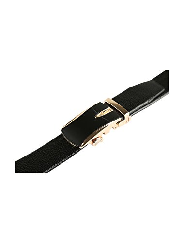 2 Leather Automatic uxcell Men Dress Sliding Buckle Belt with Ratchet 4 Black 1 1 Wide CnSn7