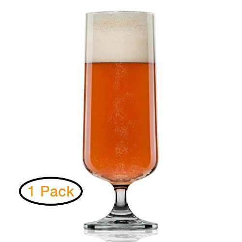 Glass Pilsner Goblet - Craft Beer Glasses- Pilsner Glasses- Nucleated for Better Head Retention, Aroma and Flavor- Handsomely Designed Crystal- 18 oz Craft Beer Glass for Beer Drinking Enhancement - Gift Idea for Men