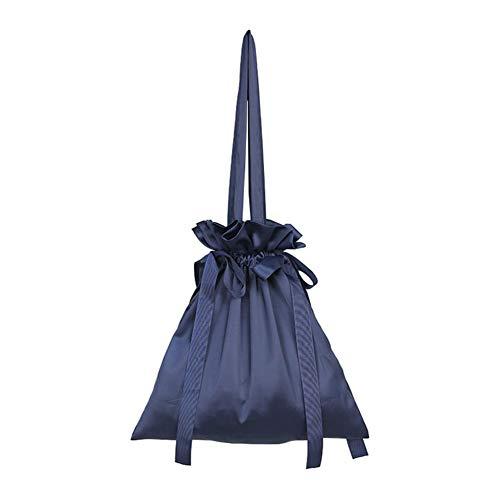 Small Fashion Women Polka Dot Drawstring Bucket Bag Chiffon Cross-Body Handbag Purse for Travel Navy Blue