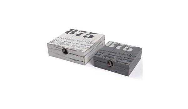 JUEGO 2 CAJAS LOFT 19X19,5X6,5 / 15X15,5X5 CM: Amazon.es: Hogar
