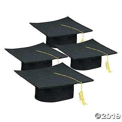 Black Graduation Cap for Children - Perfect for Your Preschool or Daycare Grad Ceremony - Package of 12 Hats by Fun Express