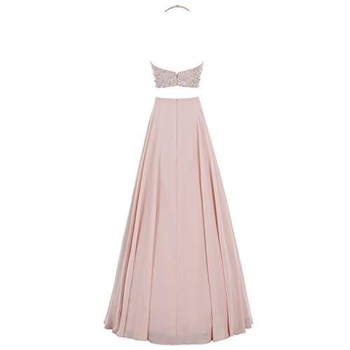 02ff4b5ba7969 Bbonlinedress Vestido De Fiesta Mujer Largo Dos Piezas Halter Con Cuentas  Gasa alta calidad