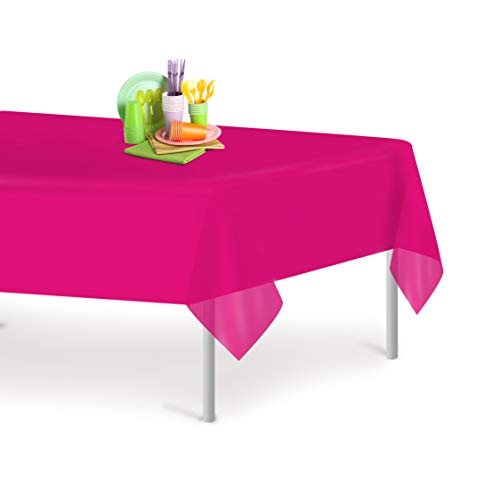 Magenta 6 Pack Premium Disposable Plastic Tablecloth 54 Inch. x 108 Inch. Rectangle Table Cover By Dluxware -