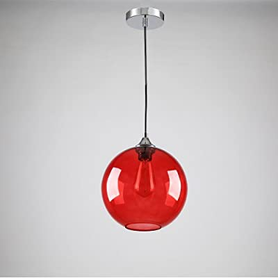LightInTheBox Vintage Glass Pendant Light in Round Red Bubble Design, Modern Home Ceiling Light Fixture Flush Mount, Pendant Lamp Chandeliers Lighting, Voltage=110-120V;Home Color=Red