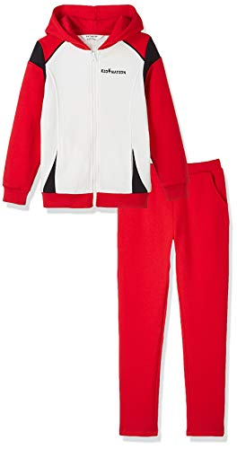 Kid Nation Kids' Sport Hooded Jacket Pants Set for Boys and Girls White/Red/Black XL
