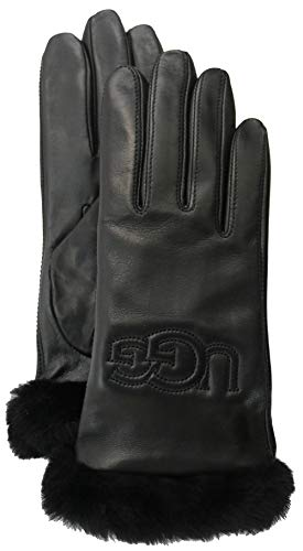 (UGG Women's Classic Leather Logo Tech Gloves Black 1 MD)