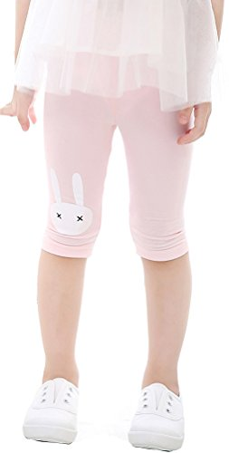 EachEver Girls Lovely Rabbit Calf-Length Pants Cotton Stretch Summer Shorts Leggings 3-9Y Pink - Shorts Calf Length