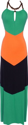 Chevron Colorblock Maxi Halter Dress, Small, Green-Orange-Navy