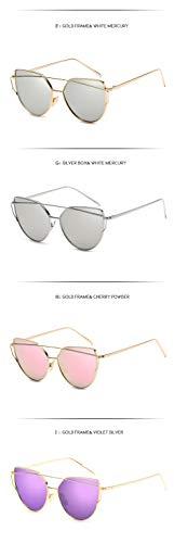 la Mujeres Las de para Cateye Gafas Anti Rose del Moda Sol de J Hombre de Espejo Oro Aprigy del Sol señora Gafas Lente de Sol C de reflexiva Gafas Marca zvqxI8w
