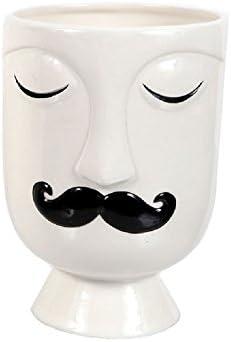 DEI Face Vase Planter Large Mustache Man