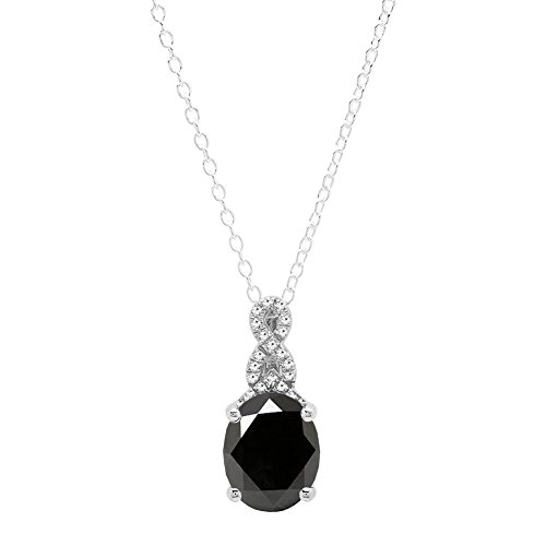 MM Oval Cut Black Sapphire & Round White Diamond Ladies Pendant (10x8mm Oval Cut Sapphire)