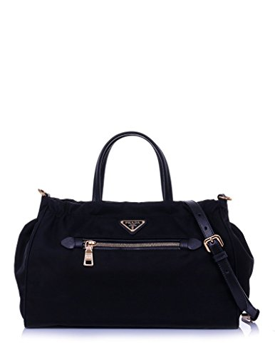 Prada Women's Tessuto Nylon & Saffiano Leather Trim Shoulder Tote Bag Black 1BA843 (Nylon Prada Handbag)