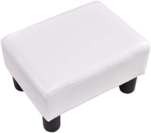 HH stool Pouf Repose-Pieds en Cuir PU Tabouret De Siège Rectangulaire Portable Blanc Rouge Moderne Maison Canapé Chaise,Blanc,38x25x26cm