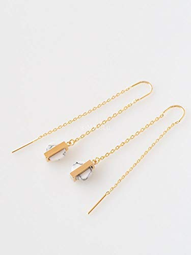 Minimal White Simulated Howlite Stone Threader Earrings