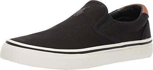 Polo Ralph Lauren Men's Thompson Sneaker, Black Canvas, 8.5 D US