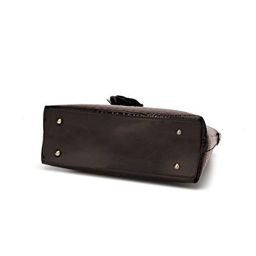 spalla Messenger di borsa Crossbody colore Zipper ragazza Bags della Marrone singolo Rosa delle donne della republe solido PU della Pendente aw67T7