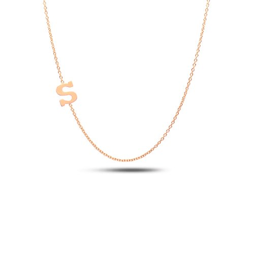 Sideways initial 14K gold necklace/Alphabet necklace/A to Z necklace/Valentine's day gift/mother'sday gift/letters necklace