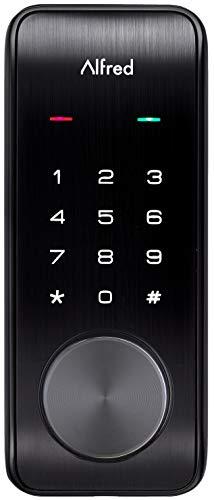 Alfred DB2-B Smart Door Lock Deadbolt Touchscreen Keypad, Pin Code + Key Entry + Bluetooth, Up to 20 Pin Codes (Black)