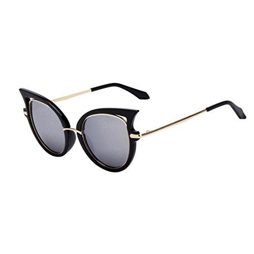 Womail Women Fashion Retro Cat Eye Glasses Shaded Thin Sunglasses For Men (B)