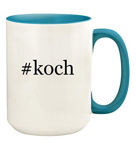 #koch - 15oz Hashtag Ceramic Colored Handle and Inside Coffee Mug Cup, Light Blue