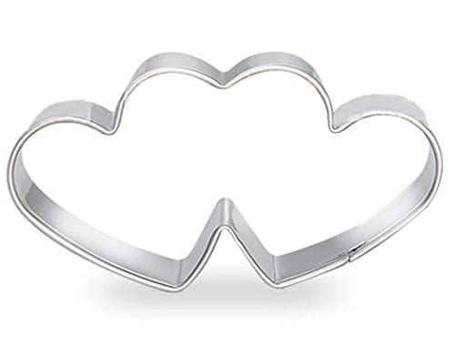 ZDYWY Double Hearts Cookie Cutters Stainless Steel Biscuit Baking Mould Cake Mold