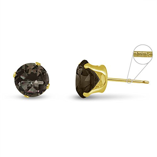 Round 8mm 14k Yellow Gold Genuine Smokey Quartz 3.2 cttw Stud Earrings, June Birthstone